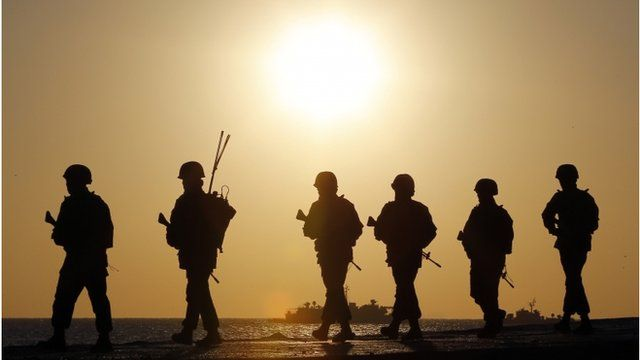 South Korean marines on patrol, March 2013