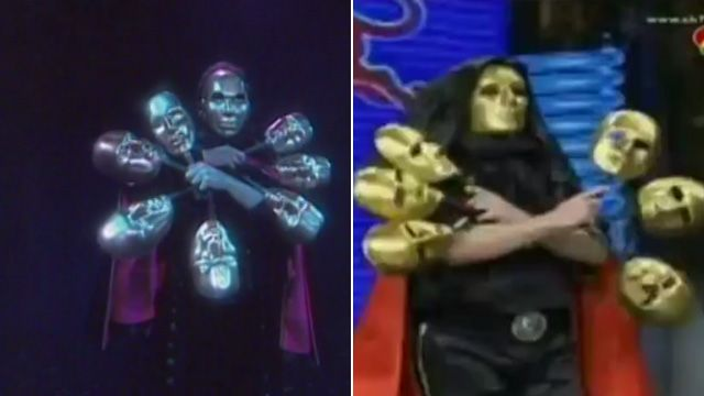 A composite image showing US magician Jeff McBride (l) and a Thai magician (r) performing a very similar act with masks