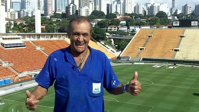 Florentino de Lima, head cleaner at the Pacaembu stadium
