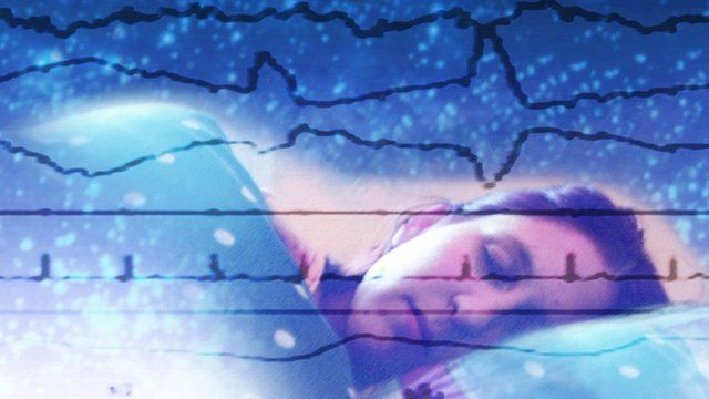Computer artwork of EEG (electroencephalogram) traces superimposed over a sleeping woman.