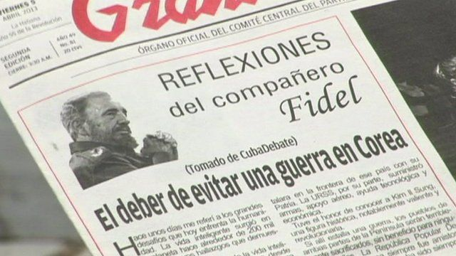 Newspaper with Fidel Castro's editorial