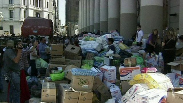 Boxes of aid for flood victims