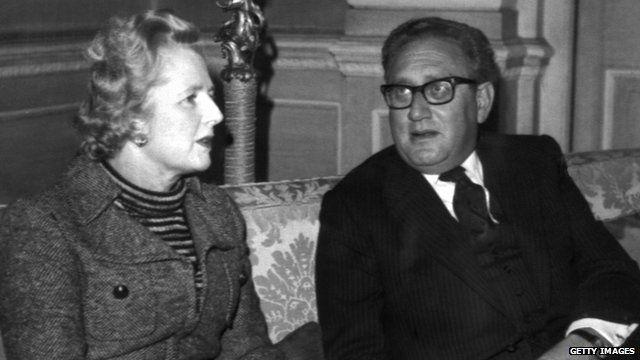 Margaret Thatcher and Henry Kissinger