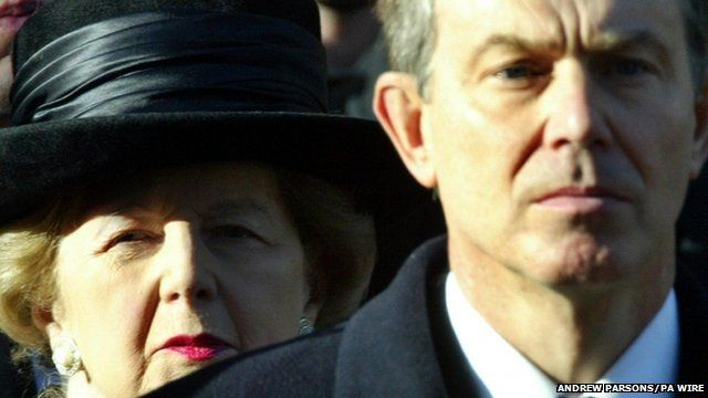 Margaret Thatcher and Tony Blair