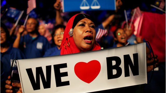 A supporter of Malaysia's ruling BN party