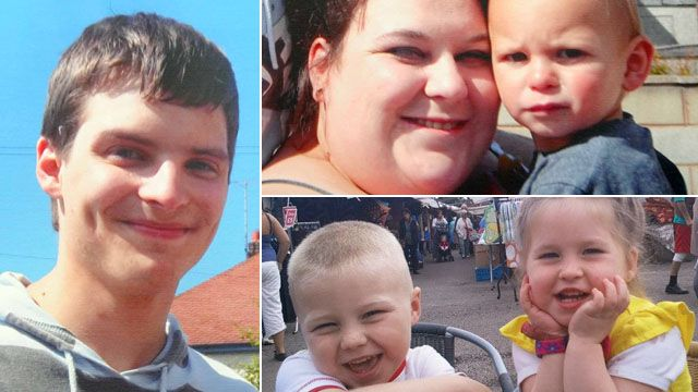 Clockwise from left: Liam Timbrell; Lee-Anna Shiers and son Charlie; niece Skye and nephew Bailey