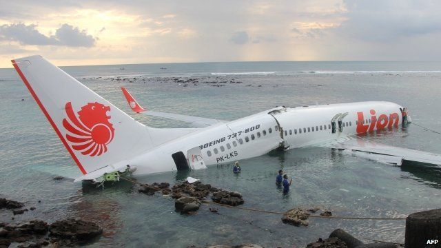 The crashed jet lies in the sea off Denpasar, Bali, 13 April