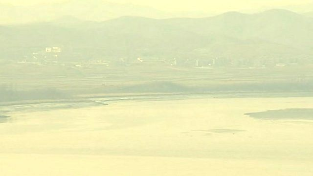 A North Korean village viewed from the South Korean side of the border