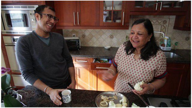 Ravi and Asha Jain in the kitchen