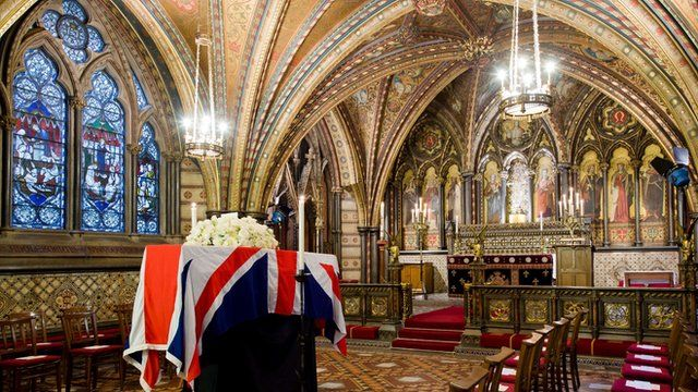 Baroness Thatcher's coffin resting in the Palace of Westminster