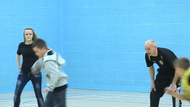 Ian Richardson coaching football session