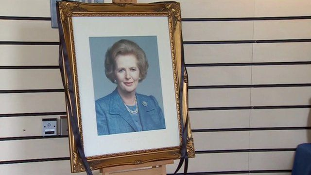 Margaret Thatcher photograph in Grantham Museum