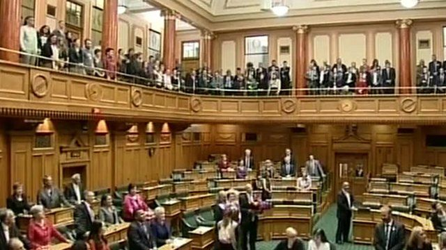 Politicians and gallery sing after same-sex marriage was approved in New Zealand