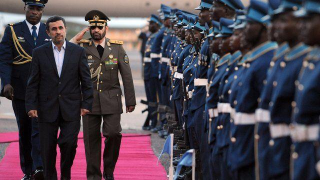 Iran's President, Mahmoud Ahmadinejad, arrives in Ghana