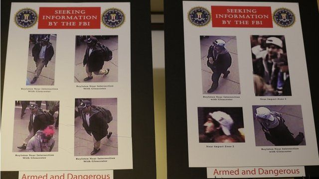 Photos of two suspects sought in the Boston Marathon bombing
