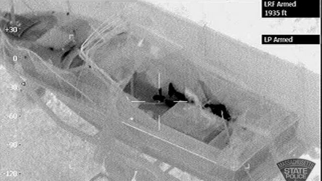 Thermal image released by the Massachusetts State Police Air Wing