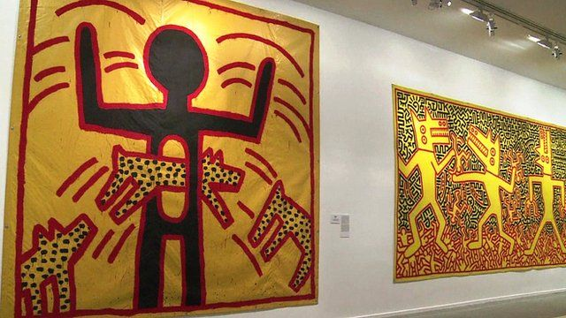 A stick figure print by Keith Haring
