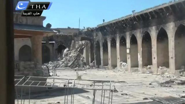 Image from a YouTube video purporting to show Aleppo minaret no longer exists
