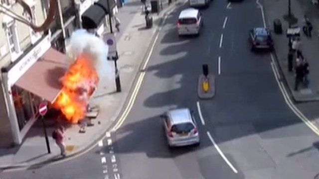 The moment a London pavement exploded