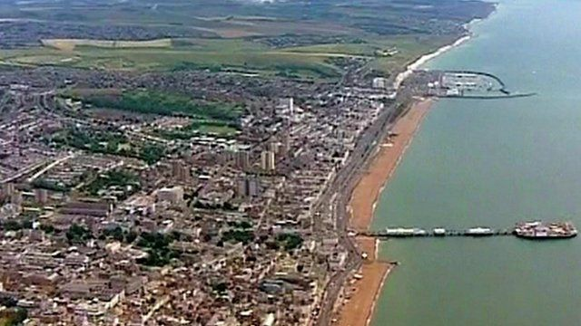 Aerial shot of Brighton