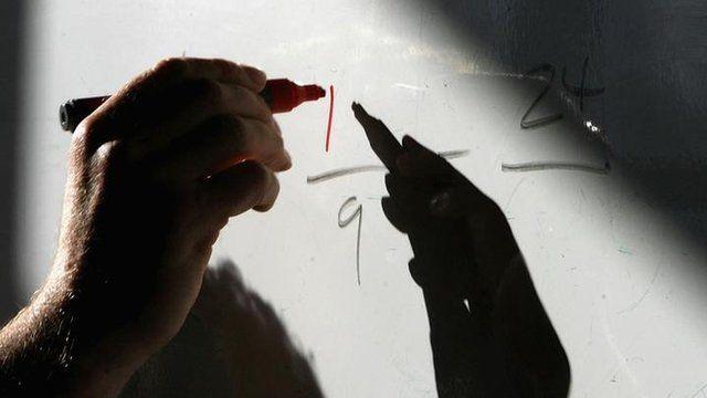 Close-up of the hand of a maths teacher