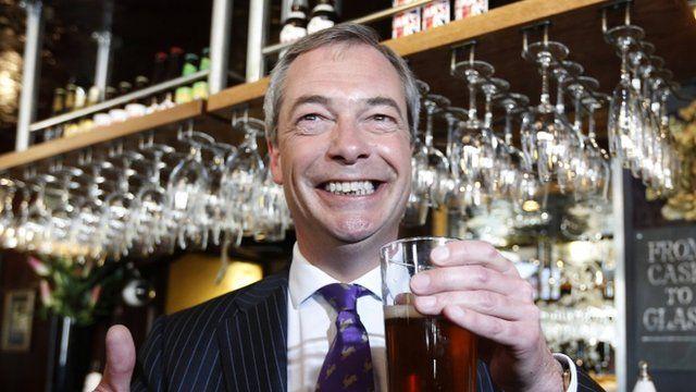 UKIP leader Nigel Farage celebrating in a pub