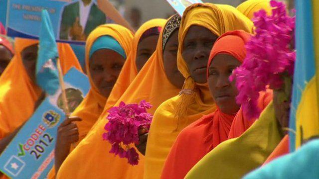 Women waiting to vote in Somalia's 2012 election
