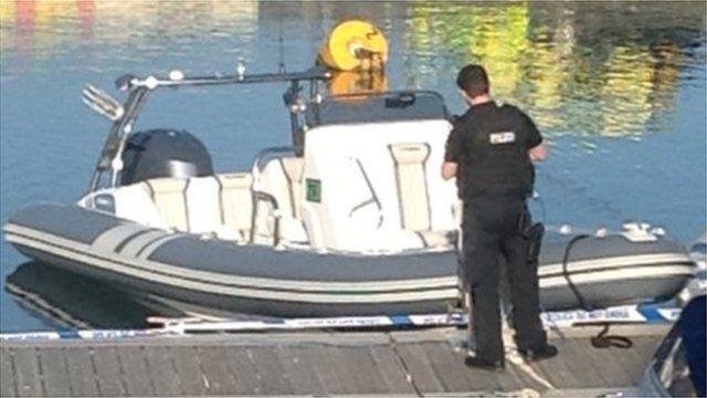 The speedboat in Padstow harbour