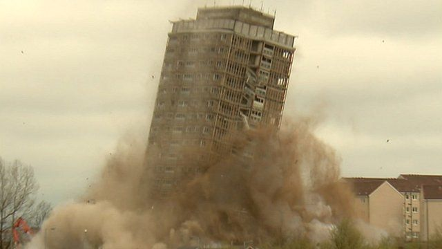 Red Road tower block is demolished