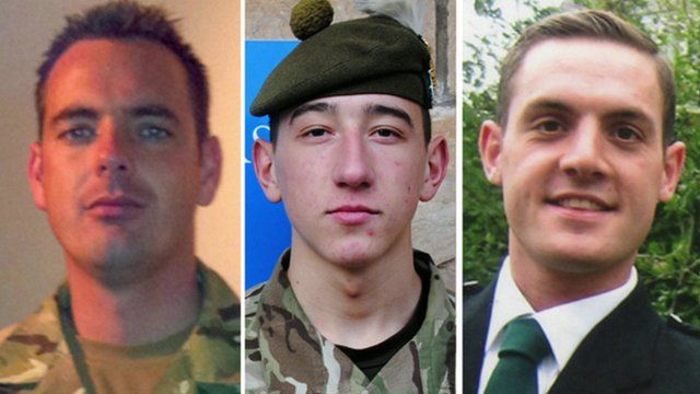 Cpl William Savage, Fusilier Samuel Flint and Pte Robert Hetherington who died in Afghanistan