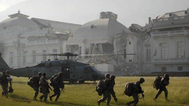 The presidential palace in Port au Prince following its collapse