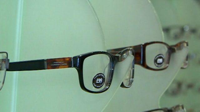 Glasses on rack