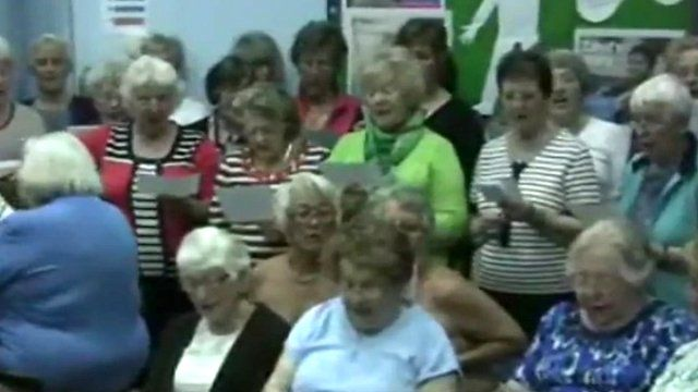 Buckden WI singing their protest song