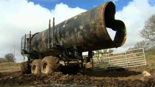 An old piece of pipeline is removed
