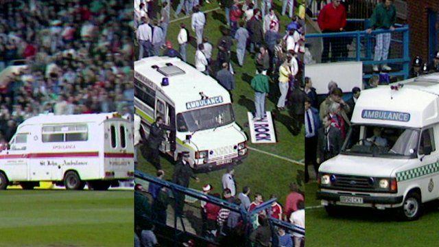 Footage shows three ambulances at Hillsborough