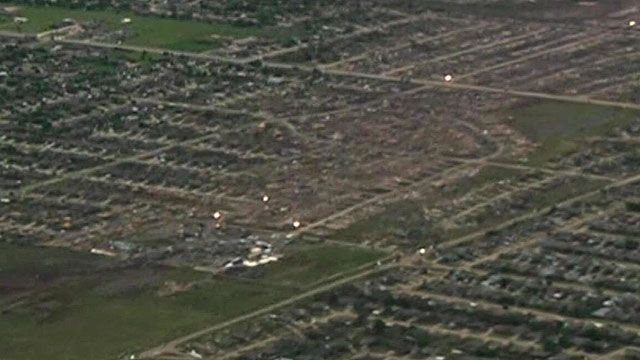 The path of destruction taken by the tornado through Moore, Oklahoma City