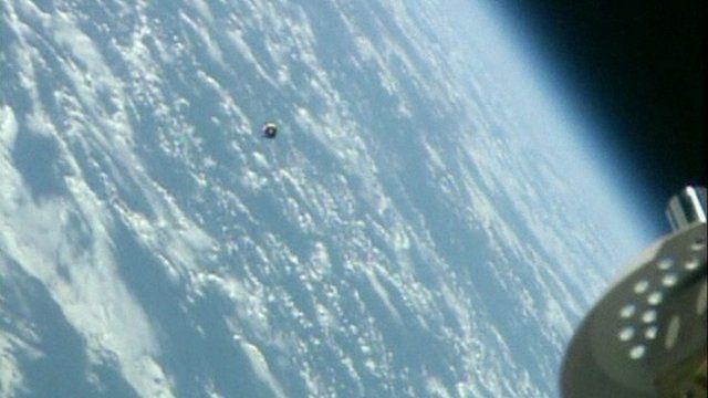 Soyuz capsule approaching International Space Station