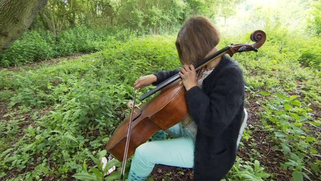 Cellist Clare Deniz performing in woodland