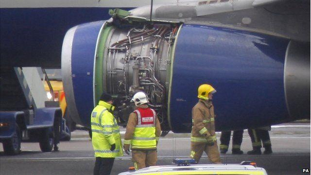 British Airways plane without cowl