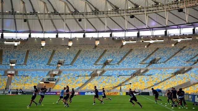 England players train inside the Maracana