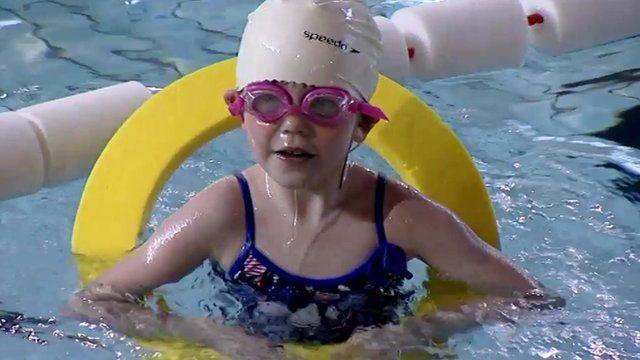 A child swimmming