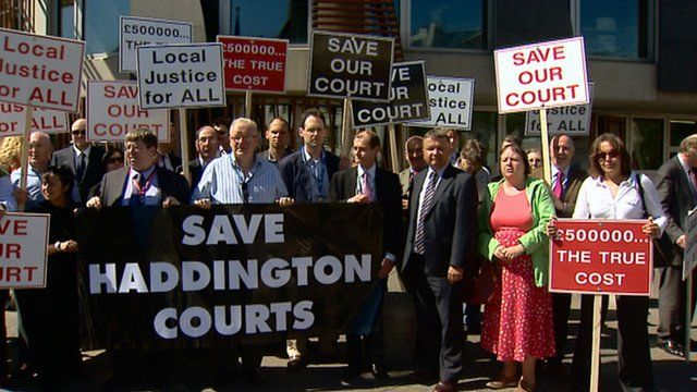 Protestors outside the Scottish Parliament