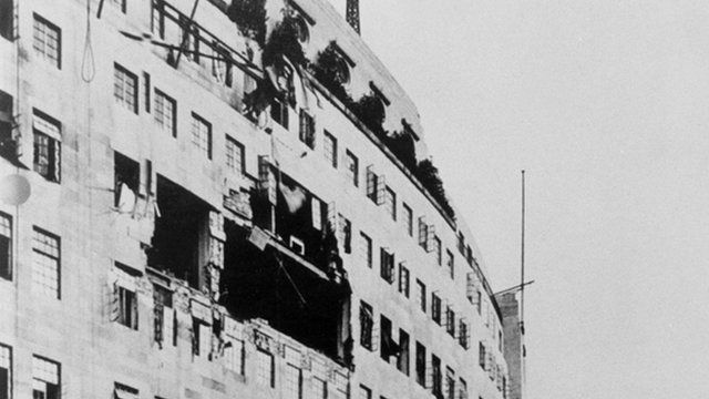 Bomb damage at Broadcasting House, October 1940