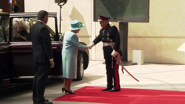 The Queen arriving at Broadcasting House