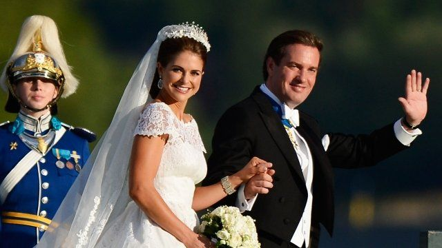"""Princess Madeleine of Sweden and Christopher O""""Neill attend the evening banquet after the wedding"""
