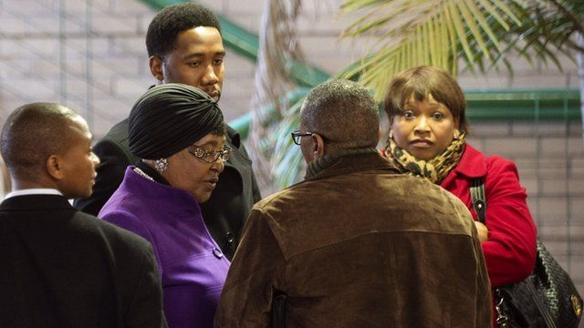 Winnie Madikizela-Mandela leaves the Mediclinic Heart Hospital in Pretoria, accompanied by her daughter and grandson
