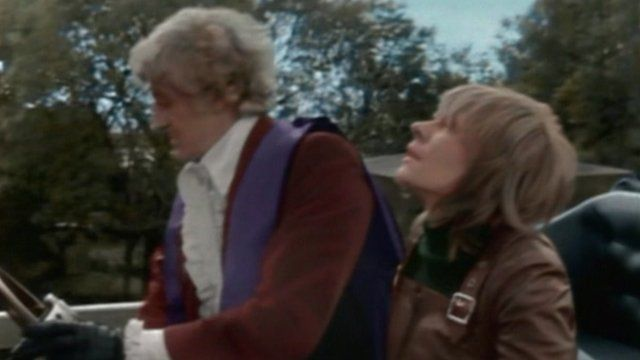 Jon Pertwee and Katy Manning arrive at Dover Castle