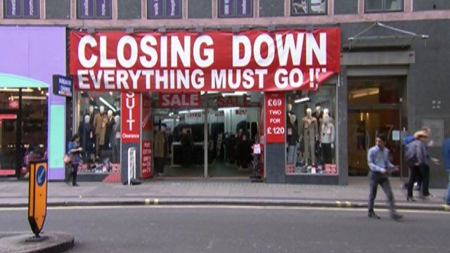 Closing down sale sign in a shop