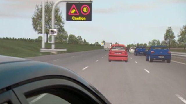 Computer mock-up off four lane motorway