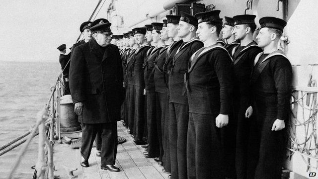 Prime Minister Winston Churchill inspects H.M.S. Scylla in 1942, during the Russian convoy operations